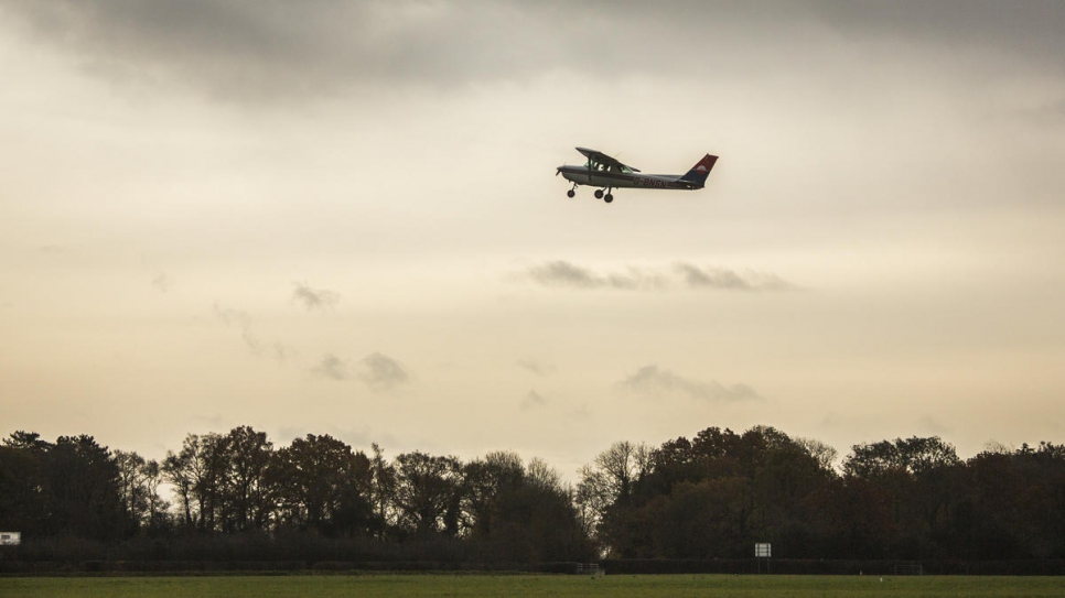 Maya Ghazal, 20, takes off on her first solo flight, at The Pilot Centre, in Denham, United Kingdom.