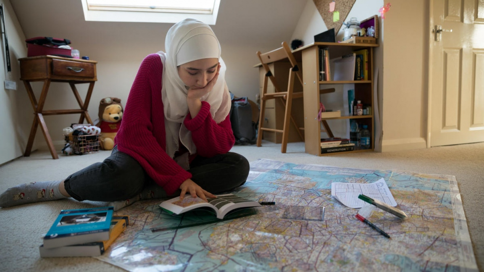 Maya Ghazal studies at home for her private pilot's license.