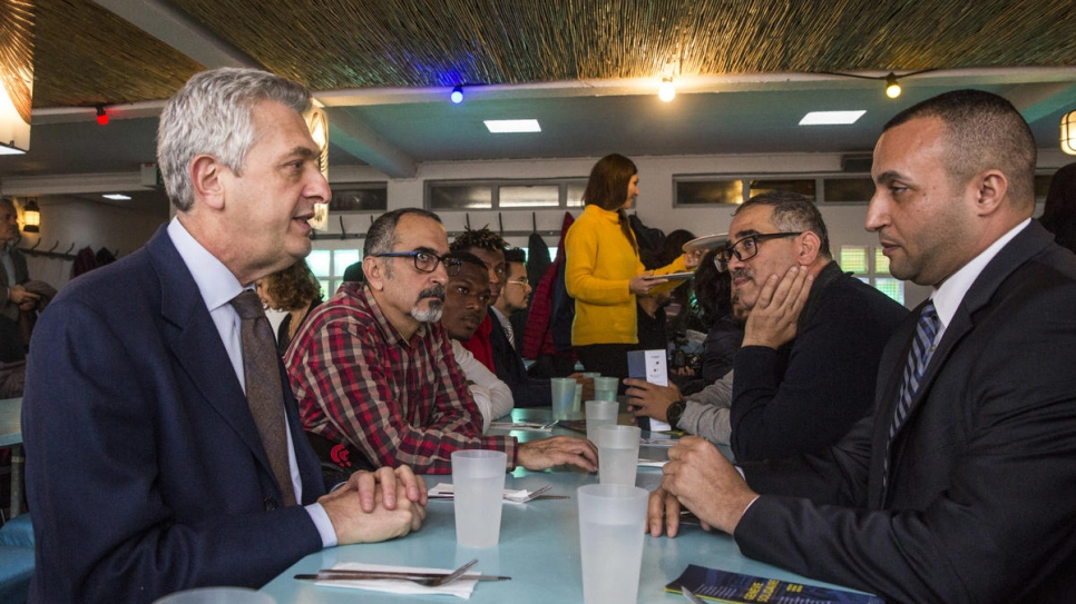 The popular restaurant at the lakefront Bains des Pâquis baths provides lunch for a group of refugees on the occasion of the Global Refugee Forum
