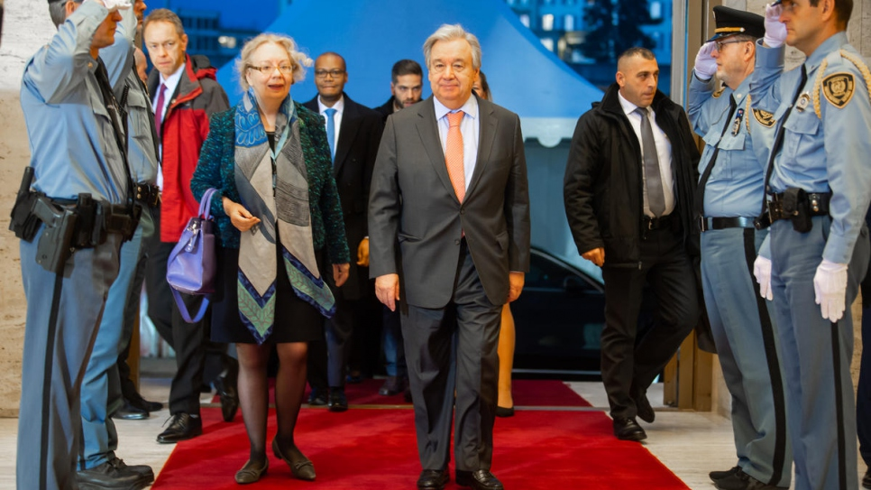 Mrs. Tatiana Valovaya, Director-General of the United Nations Office at Geneva and United Nations Secretary-General Antonio Guterres arrive for the Global Refugee Forum.