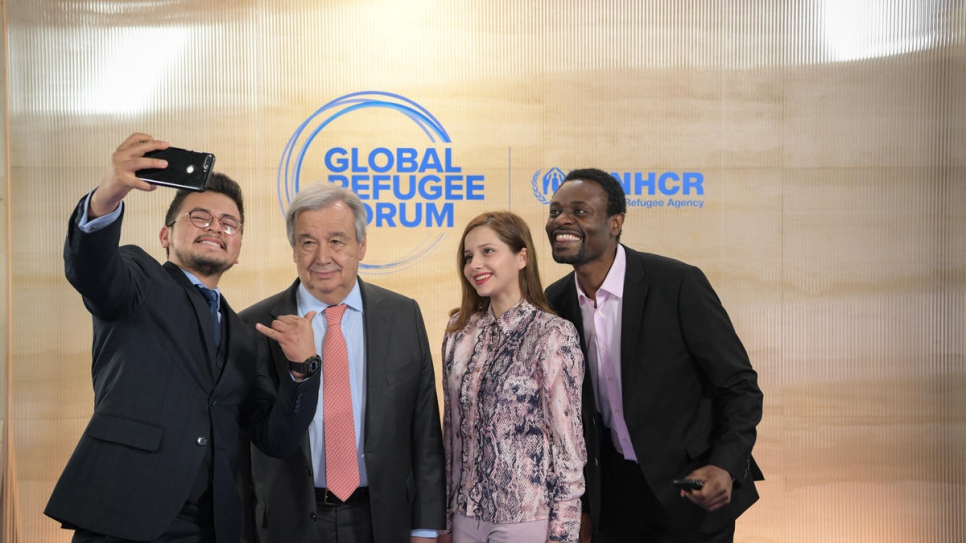United Nations Secretary-General António Guterres with refugee representatives at the Global Refugee Forum.