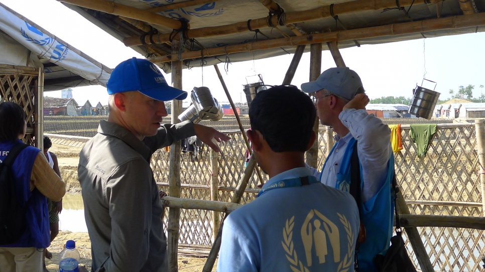 Donors of the Global Shelter Coalition discussing with local UNHCR staff in Bangladesh