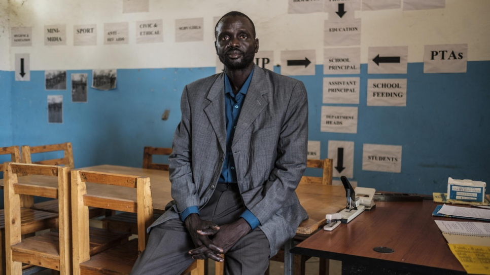 "South Sudanese refugee teacher James Tut is dedicated to education. ""Children are the future of our country. When we return, they will build our country,"" he says."