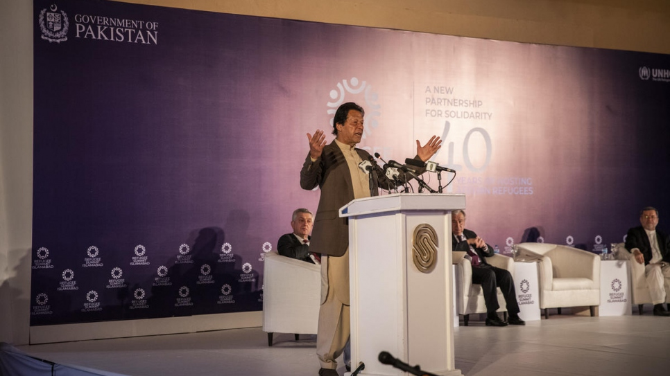 Imran Khan, Pakistan's Prime Minister, speaks at the Refugee Summit, where leaders recognized Pakistan and Iran's generosity as host countries and urged more support for Afghan refugees and their hosts.