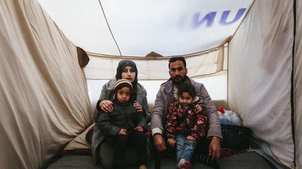 Omar lives with his wife and two children in a hut near the Moria reception and identification centre. His daughter Islam, 4, lost her hearing when a shell hit the family home in Deir ez-Zor, in eastern Syria.