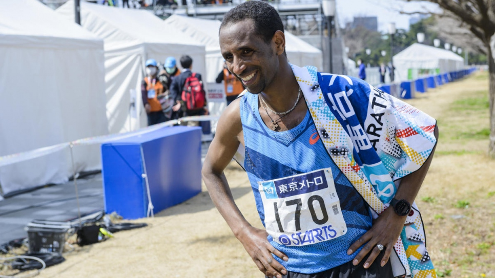 Yonas is the first refugee to compete in the elite race of the Tokyo Marathon.