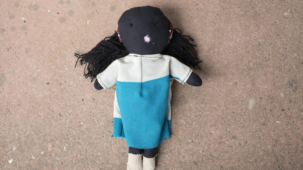 One of the dolls that Congolese refugee Kituza, 25, has made in Maratane refugee camp, Mozambique.