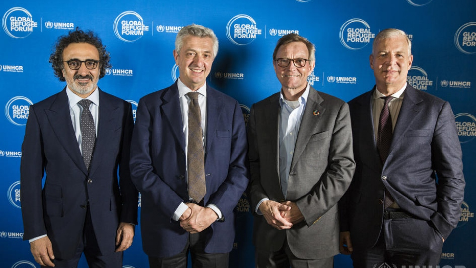 From left to right: Founder of the Tent Foundation Hamdi Ulukaya, UN High Commissioner for Refugees Filippo Grandi, CEO of the IKEA Foundation Per Heggenes, Secretary General of the International Chamber of Commerce John W.H. Denton.