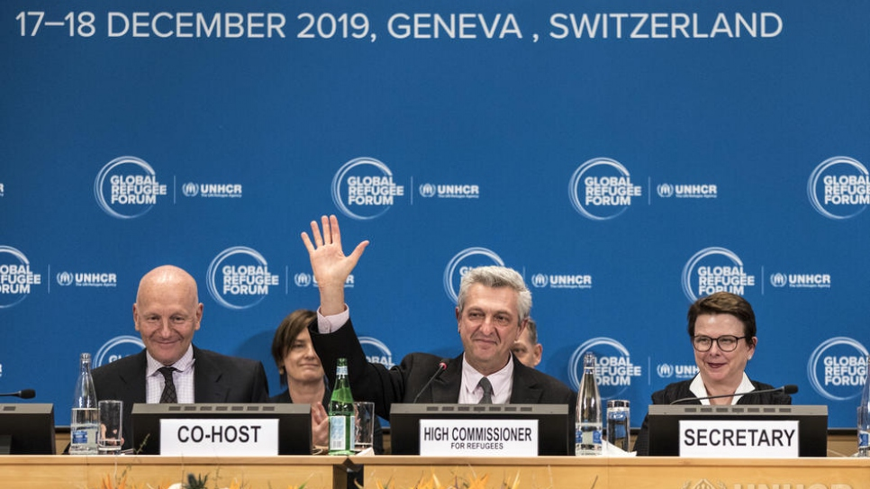 UN High Commissioner for Refugees Filippo Grandi and co-host Manuel Bessler, head of Switzerland's Humanitarian Aid Unit, sum up the results of the first Global Refugee Forum at the Palais des Nations in Geneva.