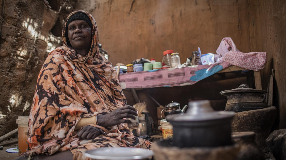 Zahra Abdurahman Musa Omer, 55, sits in her compound in Abu Shouk camp near El Fasher town in North Darfur, Sudan. She was displaced by conflict in Darfur in 2004.