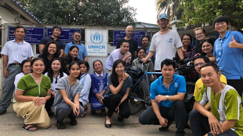 British cyclist Theo Foster arrives at UNHCR's Mae Sot field office in Thailand.