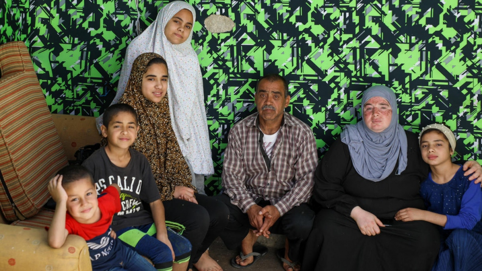 Mustafa, Sherin and their five children (Nour, 15, Fadia, 14, Nadia, 12, Muhammad, 10 and Abed, 5) have been in Jordan since 2013 after fleeing their home in Damascus, Syria.