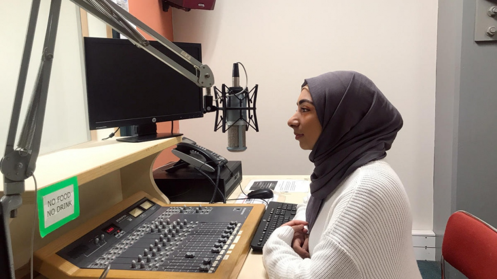 Twenty-year-old former Iraqi refugee and radio presenter Narjis Al-Zaidi shares information about COVID-19 with her listeners in Wellington, New Zealand.
