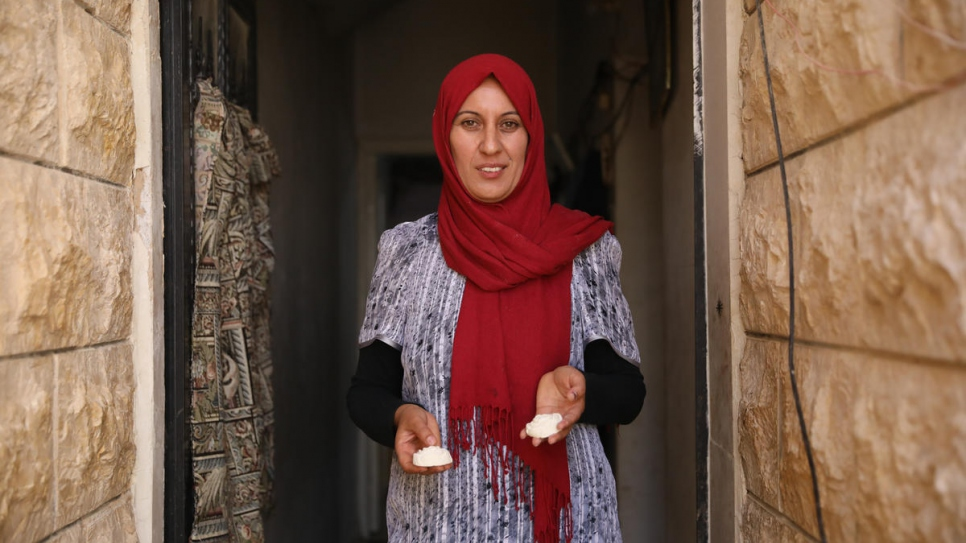 After taking a virtual soap-making course, Syrian refugee Midia Said Sido has been making soap at home for her children and other refugees in her community in southern Lebanon.