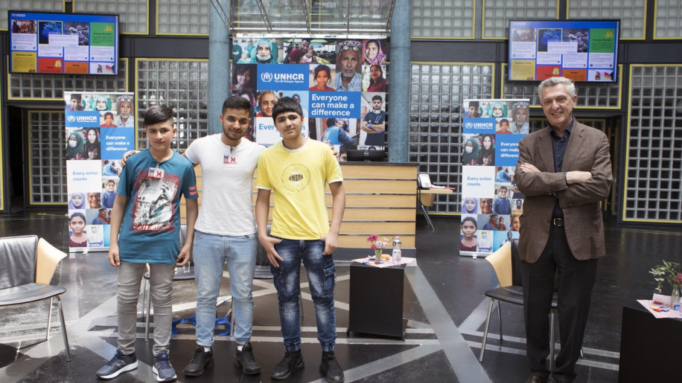 UN High Commissioner for Refugees Filippo Grandi meets with unaccompanied refugee siblings from Afghanistan who were reunited in Switzerland, where they now live.