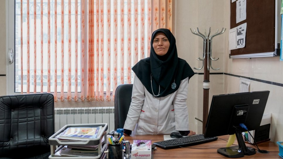 Dr Feezeh Hosseini in her office at Razi health centre, where she is head physician.