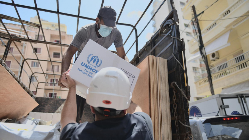 Intersos staff unload relief items to fix damaged houses in the Achrafieh neighbourhood of Beirut.