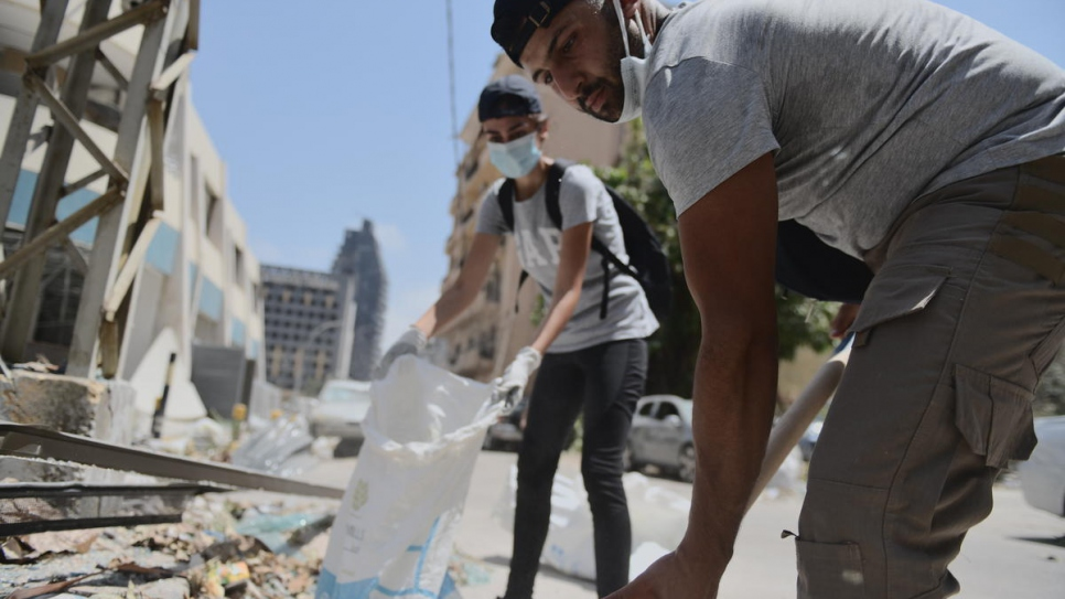 Volunteers remove rubble in the badly-affected Gemmayze district in Beirut.
