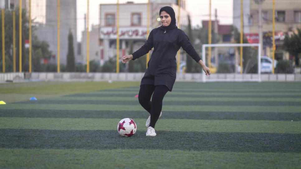 """All I wanted to do was play football, but I was not allowed to because I was a girl,"" recalls Rozma."