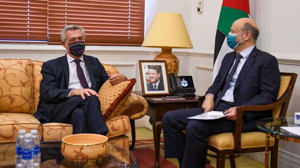 UN High Commissioner for Refugees Filippo Grandi meets with Jordanian Prime Minister Omar Razzaz in Amman.