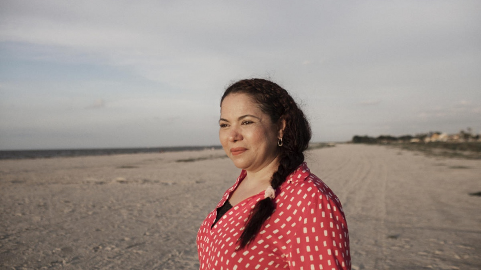 UNHCR Nansen Refugee Award Laureate 2020, Mayerlin Vergara Perez, pictured on the beach in Riohacha, La Guajira, Colombia.