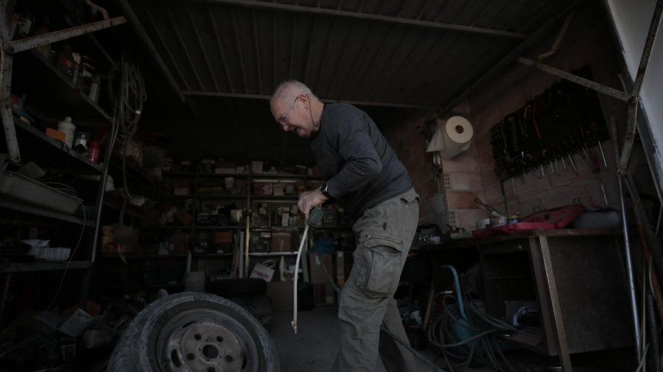 Sergio Chekaloff, 74, maintains a fleet of vehicles at the construction company his sons founded in Ibiza, Spain.