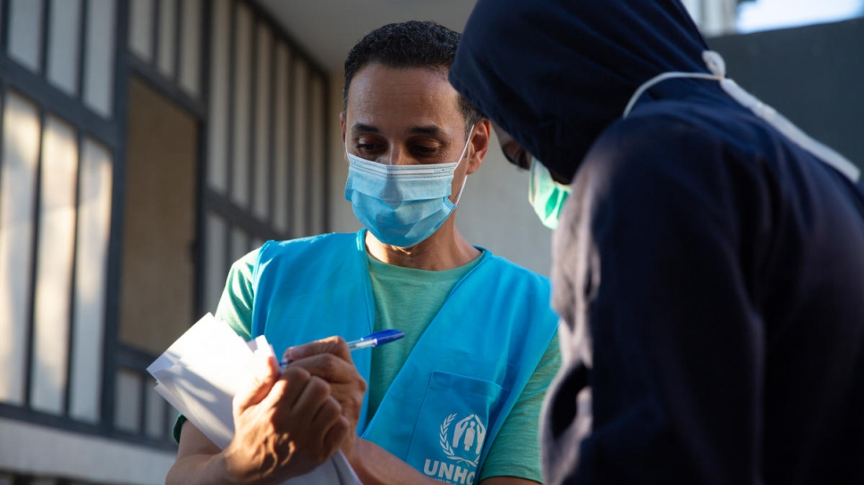 UNHCR staff identify and assist some of the 148 refugees and asylum-seekers at the Community Day Centre in Tripoli, after facilitating their release from Suq al Khamees detention centre.