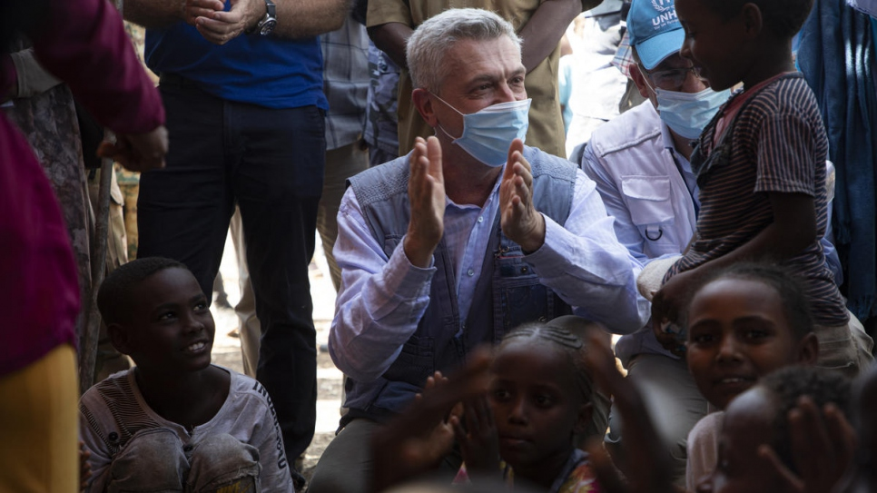 UN High Commissioner for Refugees, Filippo Grande meets refugees from Ethiopia in the Hamdayet Border Reception Centre in Eastern Sudan.