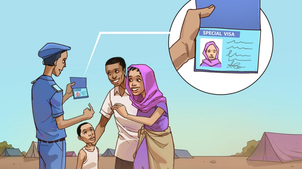 This picture is part of a series that illustrates the winning ideas from UNHCR's 2020 MUN Refugee Challenge. The drawings are by Mukah Ispahani, a young Cameroonian artist who was among the winners of UNHCR's Youth with Refugees Art Contest.