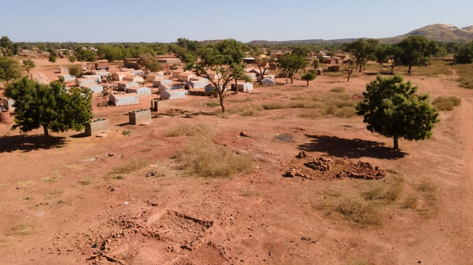 Shelters for internally displaced people at a site in Kongoussi, northern Burkina Faso, where tents were destroyed during heavy rain in April 2020.