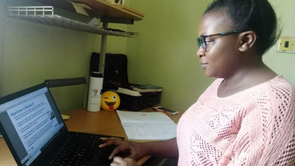 Diana Mbiti, a Child Protection Officer based in Kenya, attends an online course on statelessness titled 'Eradication of Statelessness among Children in East and Horn of Africa'. class=\x22portrait\x22></div><br /> <div class=