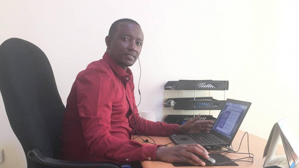 Celestin Shema attends the online course on statelessness titled 'Eradication of Statelessness among Children in East and Horn of Africa' from his office in Rwanda.