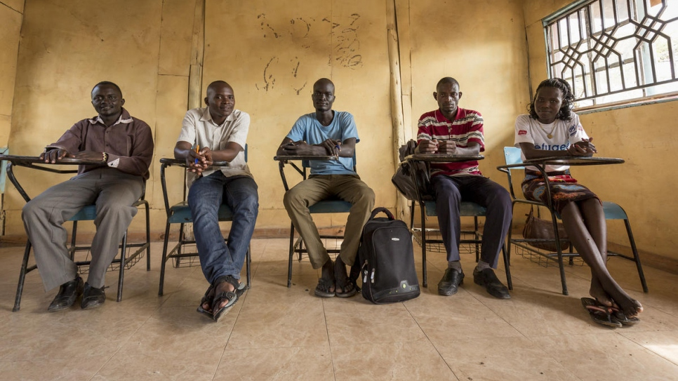 From left to right, the DAFI contingent studying at Masinde Muliro University of Science and Technology, Kakuma campus: Chagodi, 28, Mvuyekure, 29, Martin, 25, Omar, 27, Chelia, 26,.
