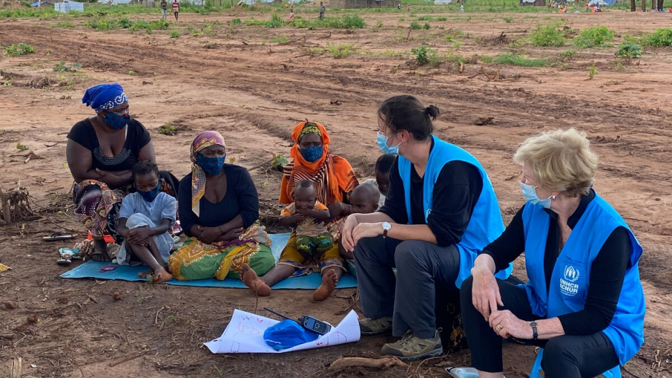 Assistant High Commissioner for Protection, Gillian Triggs (right), meeting with IDP women in Nanjua B IDP relocation site, in Ancuabe District, Cabo Delgado.
