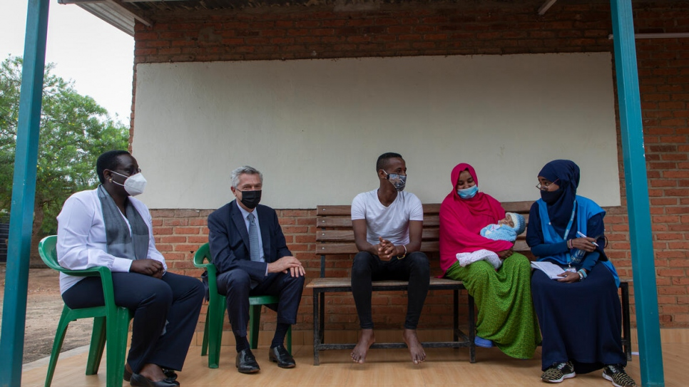 Grandi visited the facility to talk to refugees and asylum-seekers during a three-day visit to Rwanda.