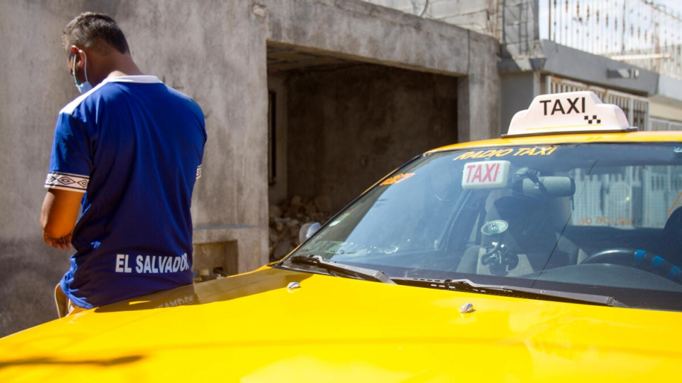 A Salvadoran refugee takes a break from driving a cab in Saltillo, Mexico.