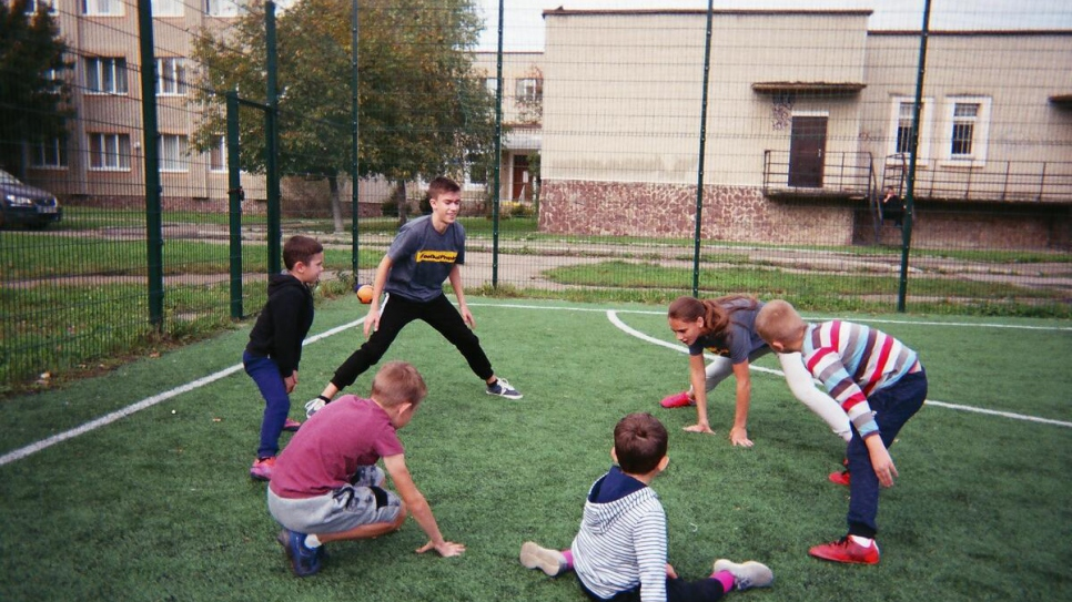 Young people attend training with the League of Tolerance, a charity that encourages inclusive participation in football, in Ivano-Frankivsk, Ukraine.