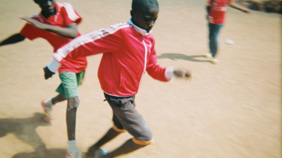 Refugee children from neighbouring Central African Republic play in a match organised by NGO Red Deporte at the Public School of Bindia in eastern Cameroon.