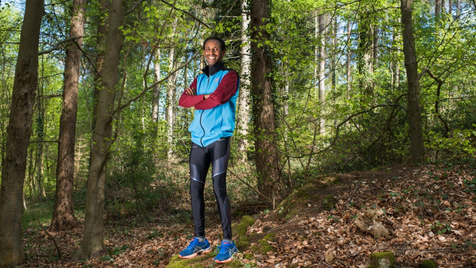 Yonas Kinde in the forest of Ham, in Luxembourg City, where he runs every morning.