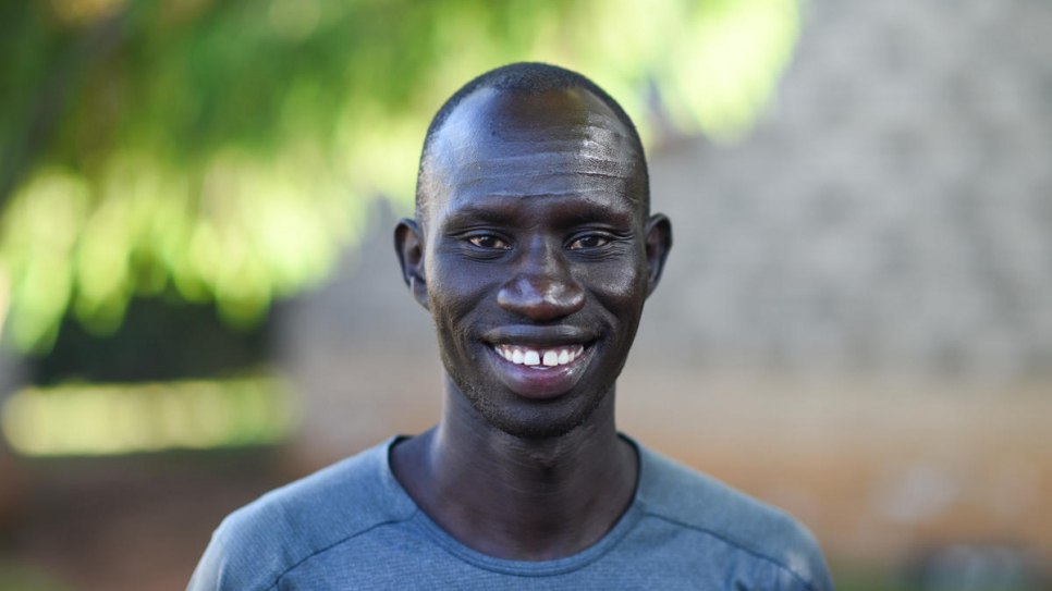 James Chiengjiek Nyang, 29, pictured at his training camp earlier this year before being confirmed as one of 29 refugee athletes set to compete in Tokyo.