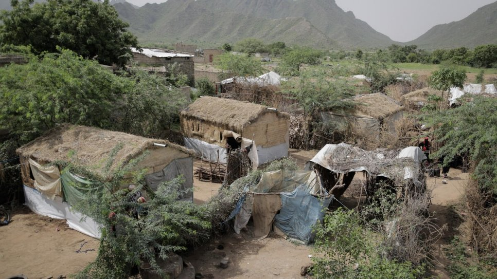 Shelters provided by Jeel Albena to accomodate internally displaced people at a site in As Sukhnah near Hudaydah, Yemen.