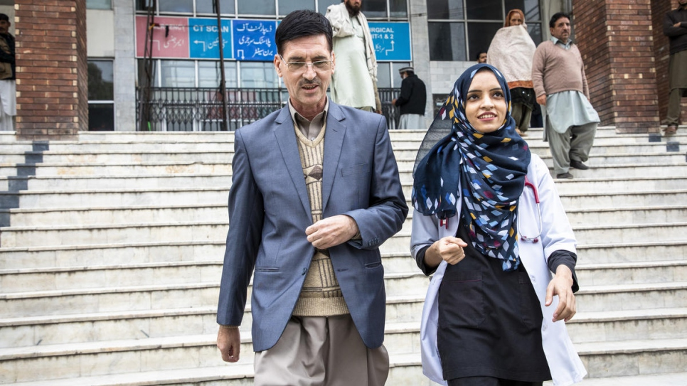 """Saleema and her father Abdul Rehman, 49, at the Holy Family Hospital. """"If there is a problem in my community they ask me because I have a daughter who is a doctor. It's a great sense of pride for us,"""" says Abdul."""