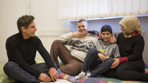 Germany. Actor Ben Stiller meets Nahed and her family at an emergency shelter in Berlin