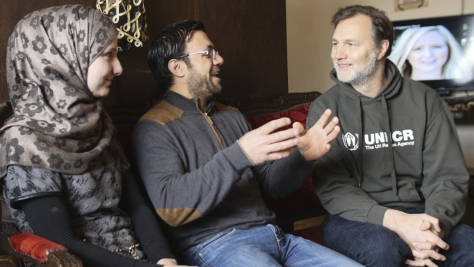 UNHCR Goodwill Ambassador David Morrissey meets Syrian refugees Talal Khaled Marwan (aged 32), his wife Maha (26) and their son Hisham in Lebanon