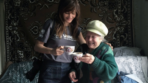 UNHCR High Profile Supporter Helena Christensen meets internally displaced older people in Ukraine