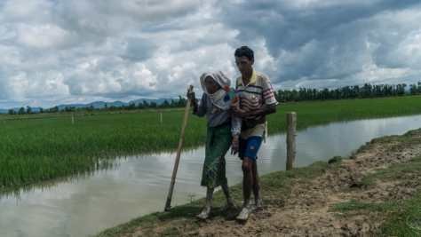 Bangladesh. An elderly Rohingya refugee is helped cross the border