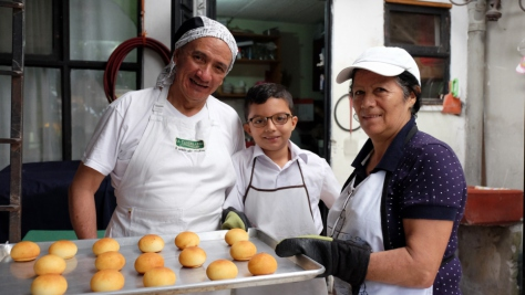 The Ángel Velásquez family – from left, Ricardo, Sebastián and Miriam – prepare bread at the family's bakery in San José, Costa Rica.