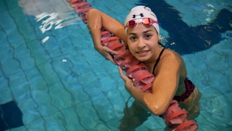 Italy. UNHCR Goodwill Ambassador Yusra Mardini trains at a swimming pool in Catania, Sicily