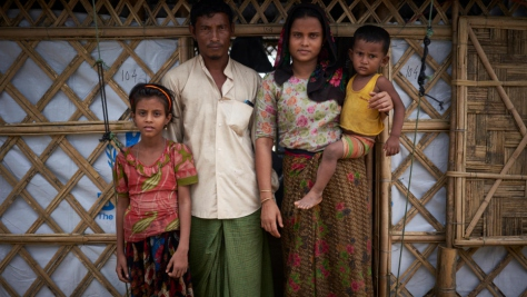 Bangladesh. Rohingya refugee family relocated to a new shelter