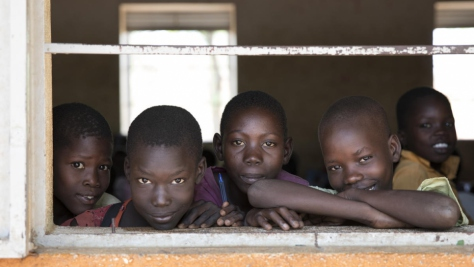 Students at Nyumanzi Integrated Primary School for Ugandan nationals and refugees from South Sudan, Nyumanzi, Uganda.